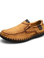 cheap -Men's Summer / Fall Casual / British Daily Outdoor Loafers & Slip-Ons Faux Leather Non-slipping Wear Proof Black / Yellow / Khaki