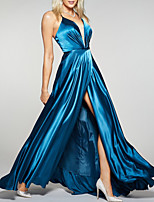 cheap -A-Line Beautiful Back Sexy Engagement Prom Dress Spaghetti Strap Sleeveless Floor Length Charmeuse with Pleats Split 2020