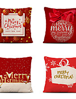cheap -4 pcs Cotton Polyester Pillow Cover, Christmas Classic Square Polyester Traditional Classic