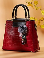 cheap -Women's Zipper PU Leather Top Handle Bag Leather Bags Solid Color Black / Red / Brown