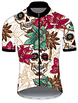 cheap -21Grams Men's Short Sleeve Cycling Jersey Nylon Polyester Red / White Skull Floral Botanical Funny Bike Jersey Top Mountain Bike MTB Road Bike Cycling Breathable Quick Dry Ultraviolet Resistant Sports