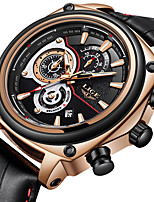 cheap -LIGE Men's Sport Watch Quartz Modern Style Sporty Leather Water Resistant / Waterproof Calendar / date / day Noctilucent Analog Casual Outdoor - Black / Silver Black+Gloden Black / Stainless Steel