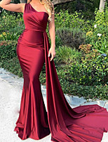 cheap -Mermaid / Trumpet Elegant Minimalist Engagement Formal Evening Dress One Shoulder Sleeveless Sweep / Brush Train Satin with Sleek 2020