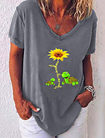 cheap -Women's T-shirt Floral V Neck Tops Loose Summer White Black Blue