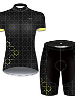 cheap -21Grams Women's Short Sleeve Cycling Jersey with Shorts Nylon Polyester Black / Yellow Plaid Checkered Gradient Geometic Bike Clothing Suit Breathable 3D Pad Quick Dry Ultraviolet Resistant