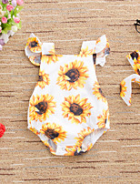 cheap -Baby Girls' Active Basic Sun Flower Floral Bow Print Sleeveless Romper White