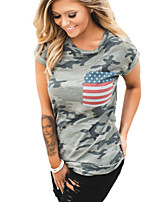 cheap -Women's T-shirt Camo / Camouflage Round Neck Tops Yellow Green