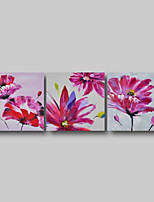 cheap -Oil Painting Hand Painted - Abstract Abstract Landscape Comtemporary Modern Stretched Canvas Pink Flowers
