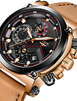 cheap -LIGE Men's Sport Watch Quartz Modern Style Sporty Leather Brown Water Resistant / Waterproof Noctilucent Analog Outdoor Big Face - Black+Gloden White+Gold White