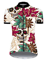 cheap -21Grams Women's Short Sleeve Cycling Jersey Nylon Polyester Red / White Skull Floral Botanical Funny Bike Jersey Top Mountain Bike MTB Road Bike Cycling Breathable Quick Dry Ultraviolet Resistant