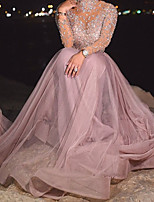 cheap -A-Line Glittering Luxurious Engagement Prom Dress High Neck Long Sleeve Sweep / Brush Train Tulle with Sequin 2020