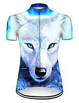 cheap -21Grams Women's Short Sleeve Cycling Jersey Nylon Polyester Blue / White Gradient Animal Wolf Bike Jersey Top Mountain Bike MTB Road Bike Cycling Breathable Quick Dry Ultraviolet Resistant Sports
