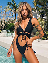 cheap -Women's Bikini Swimwear Swimsuit - Solid Colored S M L Black Yellow