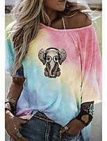 cheap -Women's T-shirt Graphic Round Neck Tops Loose Summer Blue Purple Yellow