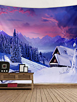 cheap -Mountain Lodge in The Snow Printed Tapestry Decor Wall Art Tablecloths Bedspread Picnic Blanket Beach Throw Tapestries Colorful Bedroom Hall Dorm Living Room Hanging