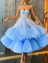 cheap -A-Line Glittering Luxurious Engagement Prom Dress Sweetheart Neckline Sleeveless Ankle Length Tulle with Tier 2020