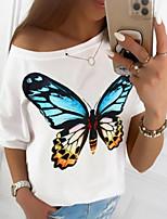 cheap -Women's T-shirt Animal Tops Round Neck Daily Black Blue Brown S M L XL 2XL
