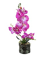 cheap -Three Fabric Phalaenopsis Bonsai With Foam Basin Overall Height 45cm, Flower Pot Height 8.5cm, Flower Pot Diameter 10cm