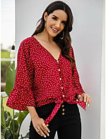 cheap -Women's Blouse Polka Dot Tops - Lace up Print V Neck Daily Summer Red S M L XL
