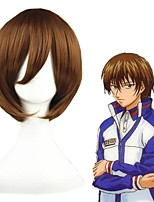 cheap -Cosplay Wig Shusuke Fuji The Prince of Tennis Straight Cosplay Halloween Asymmetrical With Bangs Wig Short Brown Synthetic Hair 12 inch Men's Anime Cosplay Cool Brown