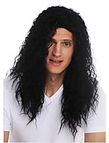 cheap -Synthetic Wig Toupees Hippie Curly Middle Part Wig Long Black Synthetic Hair 28 inch Men's Synthetic Middle Part African American Wig Black hairjoy