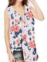 cheap -Women's Blouse Floral Tops V Neck Loose Daily Red Yellow S M L XL 2XL 3XL 4XL 5XL