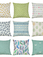 cheap -9 pcs Linen Pillow Cover, Fresh Style Pattern Geometric Geometic Casual Modern Square Traditional Classic
