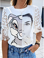 cheap -Women's T-shirt Graphic Tops Round Neck Daily Summer White S M L XL