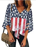 Недорогие -Жен. Блуза Полоски Верхушки V-образный вырез Повседневные Лето Темно синий S M L XL 2XL