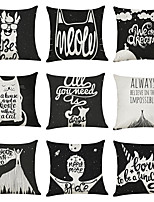 cheap -9 pcs Linen Pillow Cover, Black White Animals Character Casual Modern Square Traditional Classic