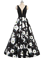 cheap -A-Line Floral Minimalist Party Wear Prom Dress V Neck Sleeveless Floor Length Satin with Pleats Pattern / Print 2020