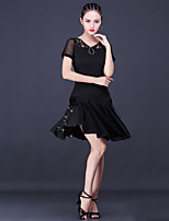 cheap -Latin Dance Skirts Lace Tassel Women's Training Performance Short Sleeve Natural Milk Fiber