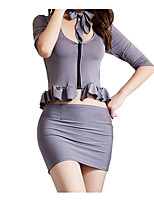 cheap -Women's Cut Out Layered Uniforms & Cheongsams Suits Nightwear Jacquard Solid Colored Gray One-Size