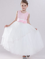 cheap -Ball Gown Round Floor Length Tulle Junior Bridesmaid Dress with Bow(s) / Tier / Appliques