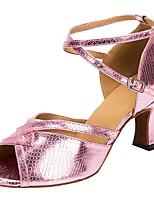 cheap -Women's Latin Shoes PU Heel Cuban Heel Dance Shoes Pink