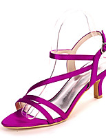 cheap -Women's Wedding Shoes Spring / Summer Stiletto Heel Open Toe Minimalism Wedding Party & Evening Solid Colored Satin White / Black / Purple