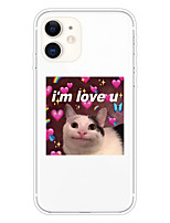 cheap -Case For Apple iPhone 11 11 Pro 11 Pro Max XS XR XS Max 8 Plus 7 Plus 6S Plus 8 7 6 6s SE 5 5S Transparent Pattern Back Cover Love U Cat Soft TPU