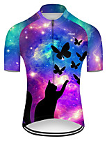 cheap -21Grams Men's Short Sleeve Cycling Jersey Nylon Polyester Violet Cat Butterfly Animal Bike Jersey Top Mountain Bike MTB Road Bike Cycling Breathable Quick Dry Ultraviolet Resistant Sports Clothing
