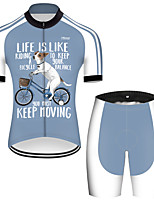 cheap -21Grams Men's Short Sleeve Cycling Jersey with Shorts Nylon Polyester Blue / White Dog Animal Funny Bike Clothing Suit Breathable 3D Pad Quick Dry Ultraviolet Resistant Reflective Strips Sports Dog