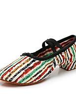 cheap -Women's Jazz Shoes Canvas Lace-up Sneaker Thick Heel Customizable Dance Shoes Light Yellow / Orange / Blue