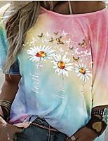 cheap -Women's T-shirt Graphic Tops Round Neck Daily Summer Blue Purple Red S M L XL 2XL 3XL