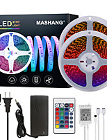 Недорогие -Mashang яркие RGB светодиодные полосы света 32,8 фута 10 м RGB Tiktok огни 1200 светодиодов SMD 5050 с 24 ключами ик-пульта дистанционного управления и 100-240 В адаптер для домашней спальни кухня