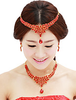 cheap -Women's Crystal Bridal Jewelry Sets Transparent Flower Elegant Vintage Earrings Jewelry White / Red For Wedding Party 1 set