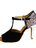 cheap -Women's Latin Shoes Suede Heel Cuban Heel Dance Shoes Black