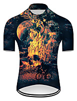 cheap -21Grams Men's Short Sleeve Cycling Jersey Nylon Polyester Black / Yellow 3D Novelty Skull Bike Jersey Top Mountain Bike MTB Road Bike Cycling Breathable Quick Dry Ultraviolet Resistant Sports