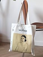 cheap -Women's Zipper Canvas Top Handle Bag Canvas Bag Letter Beige