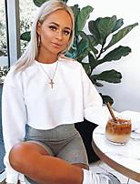 cheap -Women's Sweatshirt Solid Colored Casual / Cute White Black Yellow Gray S M L