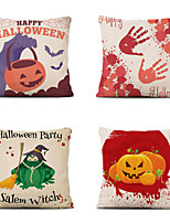 cheap -4 pcs Cotton Polyester Pillow Cover, Snowflake Pumpkin Classic Halloween Square Polyester Traditional Classic