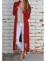 cheap -Women's Trench Coat Daily Regular Solid Colored Black / Red / Gray S / M / L