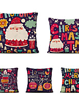 cheap -Set of 5 Christmas Tree Linen Square Decorative Throw Pillow Cases Sofa Cushion Covers